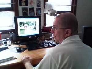 mick at computer